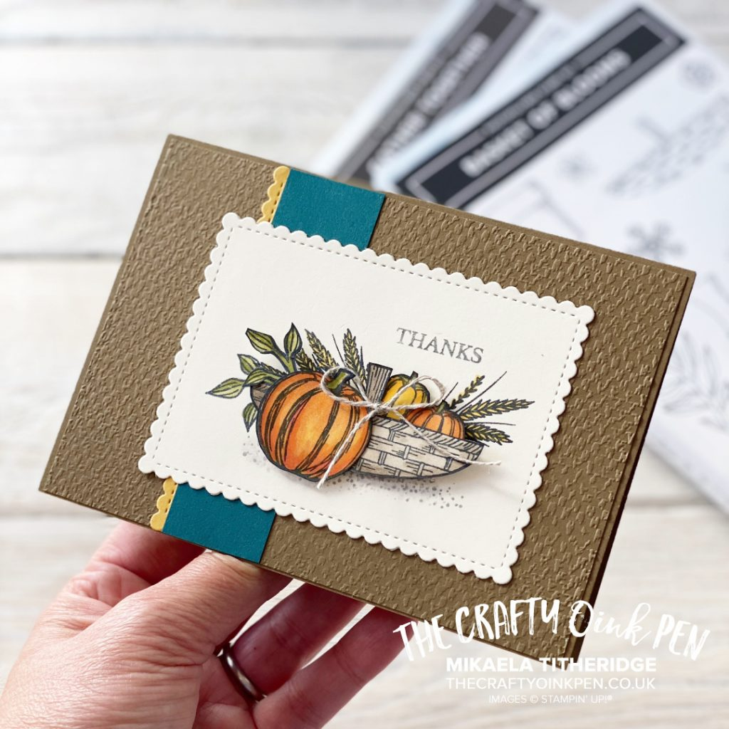 Gather Together a Basket of Blooms or even a truckle basket of pumpkins for an Autumnal Harvest Thank you card for the Fancy Friday Two Stamp Challenge by Mikaela Titheridge, UK Independent Stampin' Up! Demonstrator, The Crafty oINK Pen. Stampin' Up! Products available through my online UK store 24/7. Use my Shopping Code at checkout for personal rewards from me.