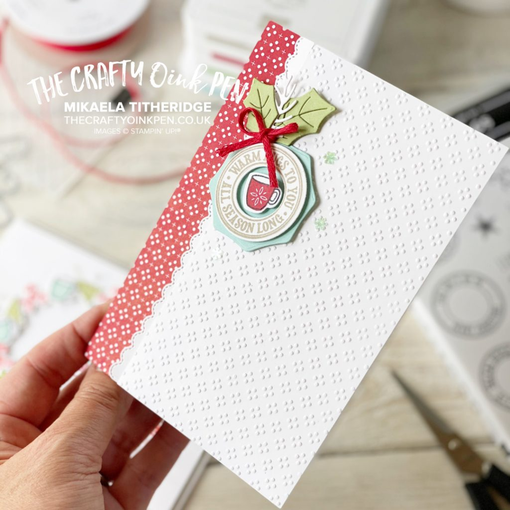 Offering Warm Hugs from the Mini Catalogue by Stampin' Up! Mugs, Candy Canes, Christmas Trees and Holly Wreath Cards by Mikaela Titheridge, UK Independent Stampin' Up! Demonstrator, The Crafty oINK Pen. Stampin' Up! Products available through my online UK store 24/7. Use my Shopping Code at checkout for personal rewards from me.