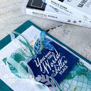 Whale Done to our Beautiful World of Marine life. A CASED Card from Jennifer Frost from the Crafty Carrot Collective by Mikaela Titheridge, UK Independent Stampin' Up! Demonstrator, The Crafty oINK Pen. Stampin' Up! Products available through my online UK store 24/7. Use my Shopping Code at checkout for personal rewards from me.