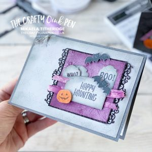 Stampin' Up! Banner Year Halloween Card using Ornate Frames and Magic in this night paper by Mikaela Titheridge, UK Independent Stampin' Up! Demonstrator, The Crafty oINK Pen. Buy your Stampin' Up! Products through my online store 24/7. Use my Shopping Code at checkout for personal rewards from me. Can be found here on my Blog.