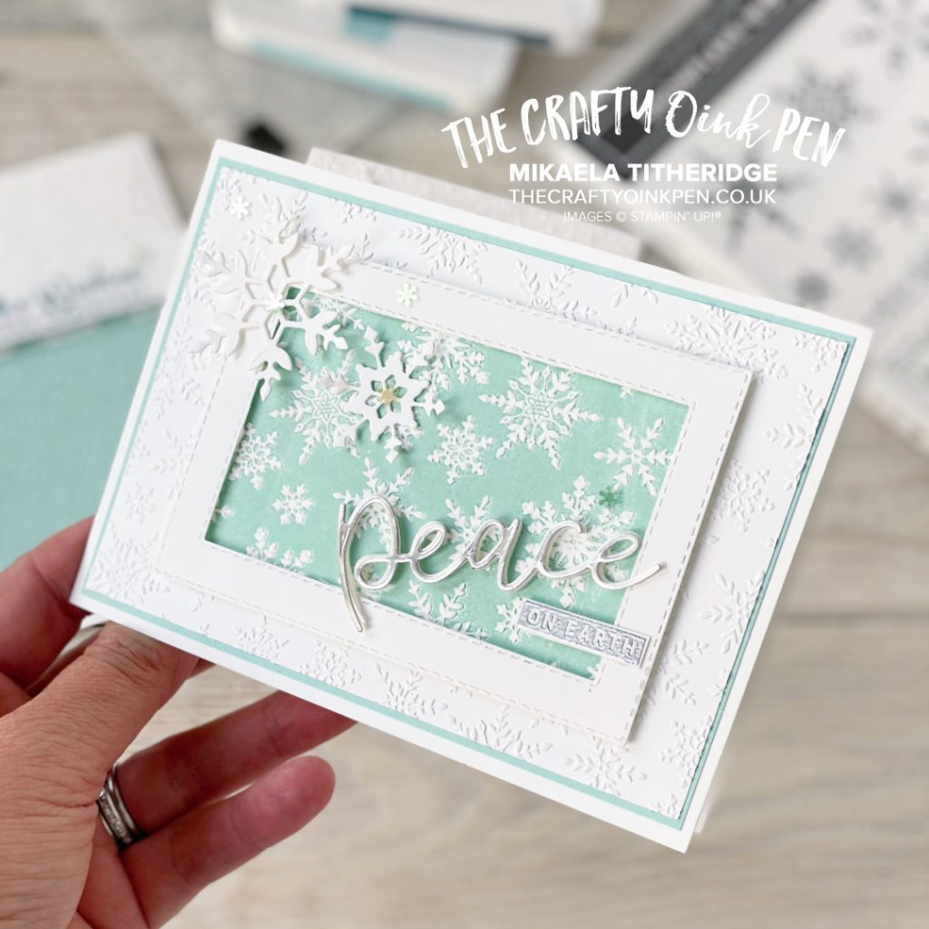 Stampin' Up! Winter Snow Embossing Folder for the Stamping Sunday Textures hop. Add Texture using the Embossing Folder with Snowflake Wishes Bundle and Peace & Joy Bundle by Mikaela Titheridge, UK Independent Stampin' Up! Demonstrator, The Crafty oINK Pen. Buy your Stampin' Up! Products through my online store 24/7. Use my Shopping Code at checkout for personal rewards from me. Can be found here on my Blog.
