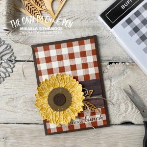 All Star Tutorial Blog Hop using Flowers for Every Season and or me, Celebrate Sunflowers for a Buffalo check Thank you card by Mikaela Titheridge, UK Independent Stampin' Up! Demonstrator, The Crafty oINK Pen. Buy your Stampin' Up! Products through my online store 24/7. Use my Shopping Code at checkout for personal rewards from me. Can be found here on my Blog.