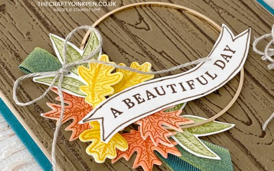Stampin' Up! Beautiful Autumn Colours for Mikaela Titheridge. Pinewood Planks Embossed background, a die cut panel and some watercolored leaves all help create this card of gratitude by Mikaela Titheridge, UK Independent Stampin' Up! Demonstrator, The Crafty oINK Pen. Buy your Stampin' Up! Products through my online store 24/7. Use my Shopping Code at checkout for personal rewards from me. Can be found here on my Blog.