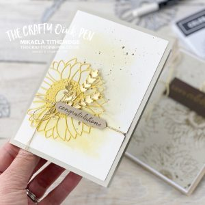 Celebrate Sunflowers with a ghosting technique and a Water Splatter Heat Emboss technique by Mikaela Titheridge, UK Independent Stampin' Up! Demonstrator, The Crafty oINK Pen. Buy your Stampin' Up! Products through my online store 24/7. Use my Shopping Code at checkout for personal rewards from me. Can be found here on my Blog.