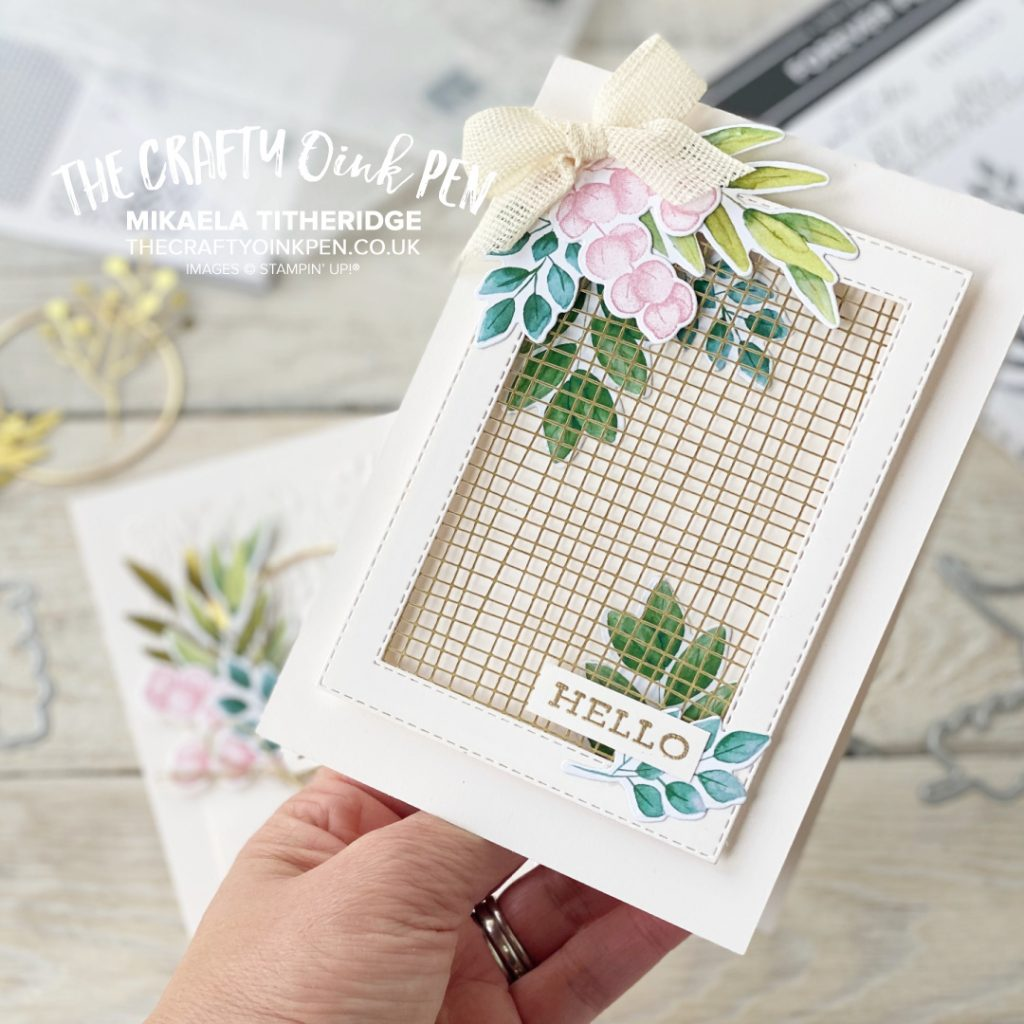 Stampin' Up! Forever Greenery Suite All Star Tutorial Bundle. Forever Fern card using Gold Hoops and Gold Laser cut sheets by Mikaela Titheridge, UK Independent Stampin' Up! Demonstrator, The Crafty oINK Pen. Buy your Stampin' Up! Products through my online store 24/7. Use my Shopping Code at checkout for personal rewards from me. Can be found here on my Blog.