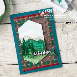 In the Pines with Waterfront from Stampin' Up! by The Crafty oINK Pen. A Scotish vibe using the Plaid Tidings by Mikaela Titheridge, UK Independent Stampin' Up! Demonstrator, The Crafty oINK Pen. Buy your Stampin' Up! Products through my online store 24/7. Use my Shopping Code at checkout for personal rewards from me. Can be found here on my Blog.