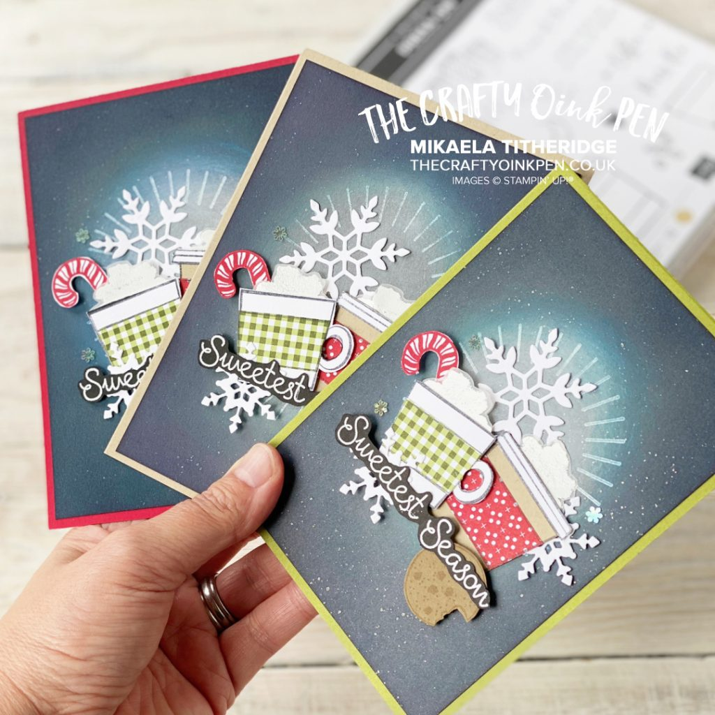 Press On to the Sweetest Time with Cookies and Candy Canes from Nothing's Better Than. A fun collage card of sponging, paper piecing and snowflake scattering by Mikaela Titheridge, UK Independent Stampin' Up! Demonstrator, The Crafty oINK Pen. Buy your Stampin' Up! Products through my online store 24/7. Use my Shopping Code at checkout for personal rewards from me. Can be found here on my Blog.