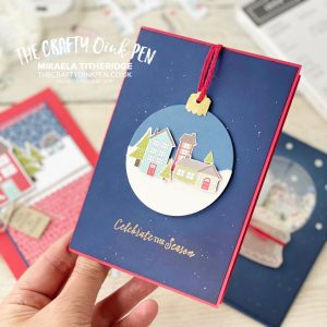 Trimming the Town Designer Series Paper used to create three fun Christmas Cards, one using scraps, one Christmas Bauble and one Shaker Snow Globe using Zoo Baby and the Snow Globe Dies by Mikaela Titheridge, UK Independent Stampin' Up! Demonstrator, The Crafty oINK Pen. Buy your Stampin' Up! Products through my online store 24/7. Use my Shopping Code at checkout for personal rewards from me. Can be found here on my Blog.