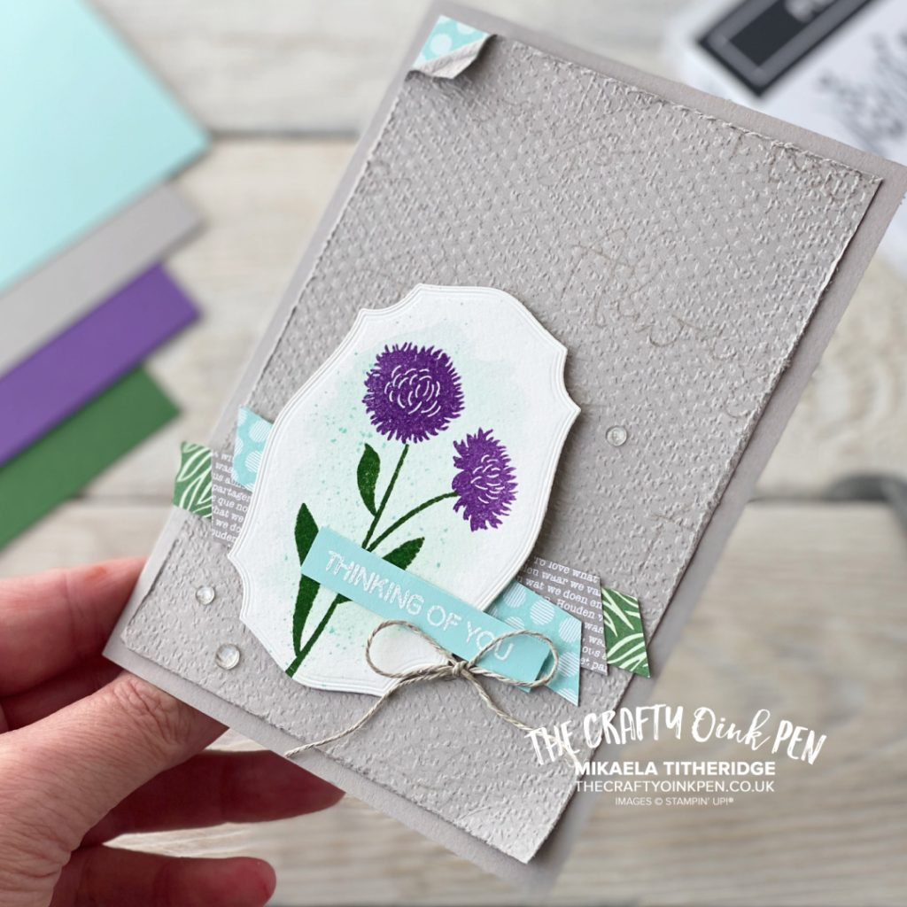 Stampin' Up! Field of Flowers. Fancy Friday Core Colours Challenge using Field of Flowers and four core colours by Mikaela Titheridge, UK Independent Stampin' Up! Demonstrator, The Crafty oINK Pen. Buy your Stampin' Up! Products through my online store 24/7. Use my Shopping Code at checkout for personal rewards from me. Can be found here on my Blog.