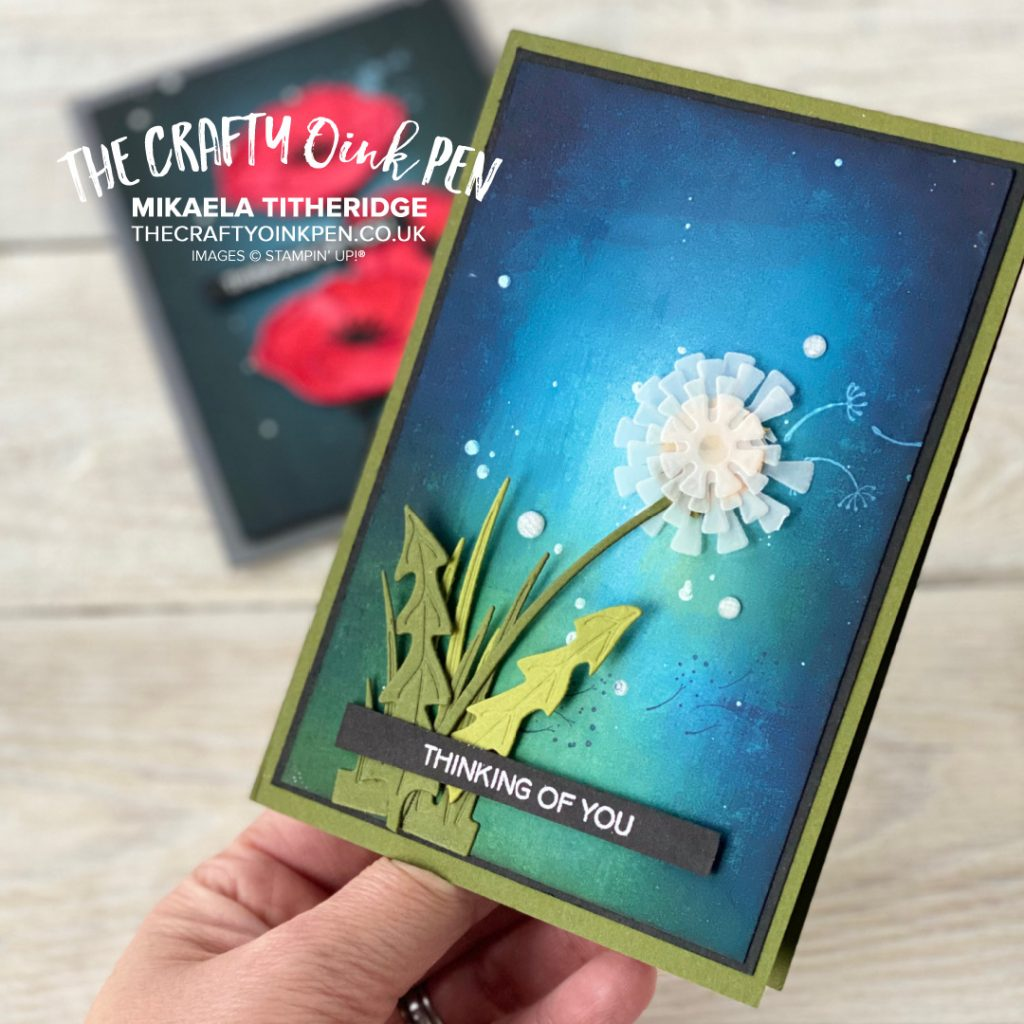 Garden Wishes for Poppy Moments from Stampin' Up! Sponged background and Die cut pieces form two beautiful cards throughout this Facebook Live by Mikaela Titheridge, UK Independent Stampin' Up! Demonstrator, The Crafty oINK Pen. Buy your Stampin' Up! Products through my online store 24/7. Use my Shopping Code at checkout for personal rewards from me. Can be found here on my Blog.