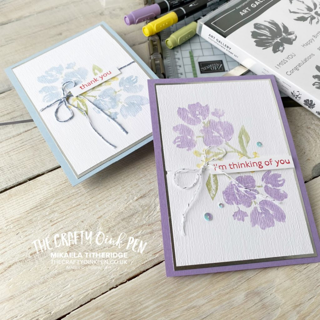 Stampin' Up! Art Gallery Thank you Cards made using the Stamparatus, our image positioning tool by Mikaela Titheridge, UK Independent Stampin' Up! Demonstrator, The Crafty oINK Pen. Buy your Stampin' Up! Products through my online store 24/7. Use my Shopping Code at checkout for personal rewards from me. Can be found here on my Blog.