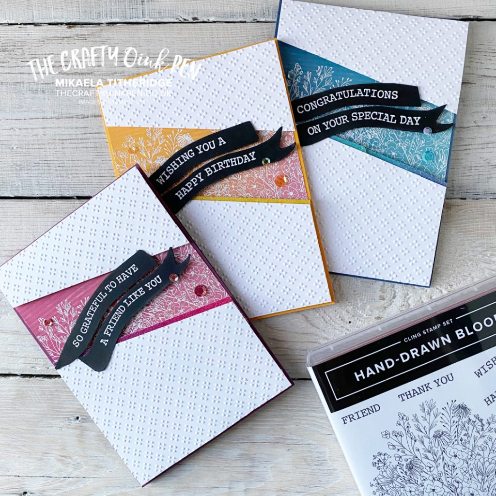 Stampin' Up! Artistry Blooms Suite using Hand-Drawn Blooms and Embossing for the All Star Tutorial Bundle by Mikaela Titheridge, UK Independent Stampin' Up! Demonstrator, The Crafty oINK Pen. Buy your Stampin' Up! Products through my online store 24/7. Use my Shopping Code at checkout for personal rewards from me. Can be found here on my Blog.