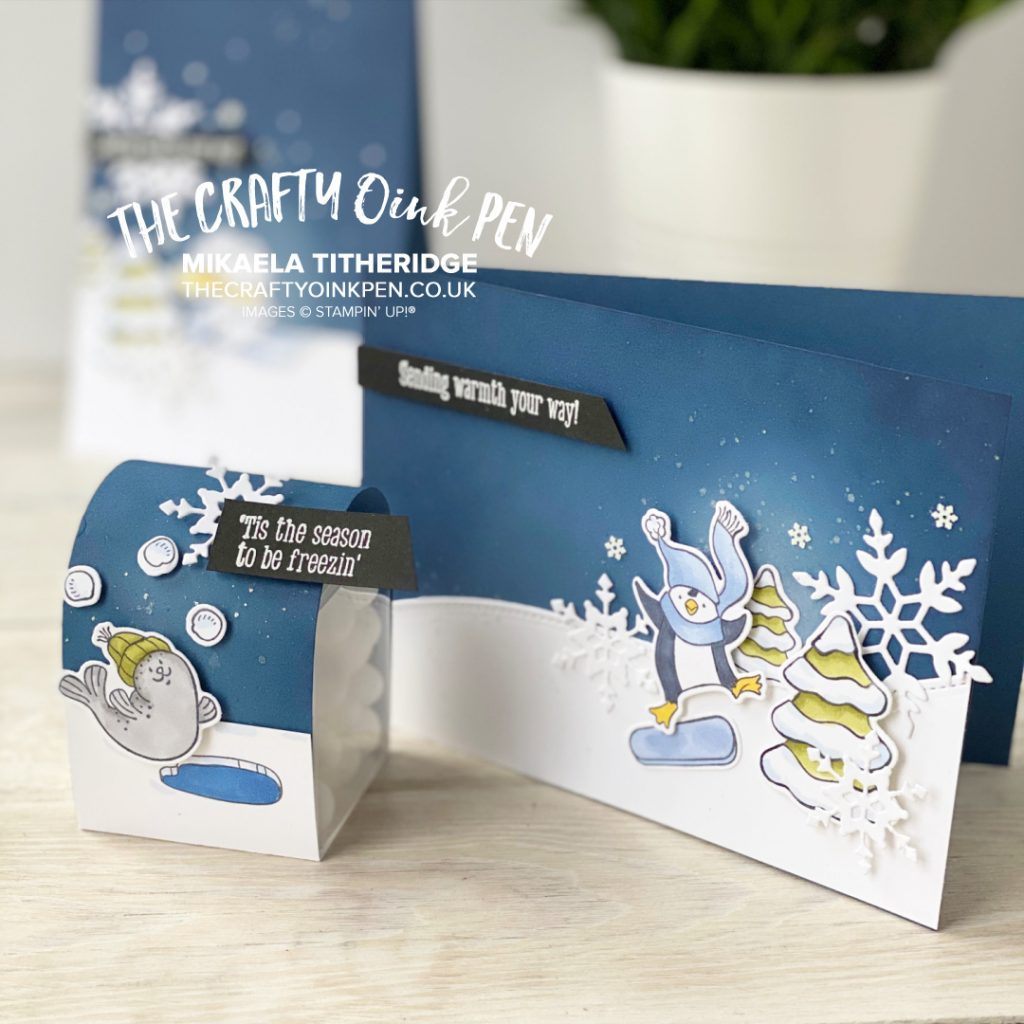 Freezin' Fun from Stampin' Up! Penguins, Skiing Rabbits and Snowball juggling Seal cards and Mini Treat Box by Mikaela Titheridge, UK Independent Stampin' Up! Demonstrator, The Crafty oINK Pen. Buy your Stampin' Up! Products through my online store 24/7. Use my Shopping Code at checkout for personal rewards from me. Can be found here on my Blog.