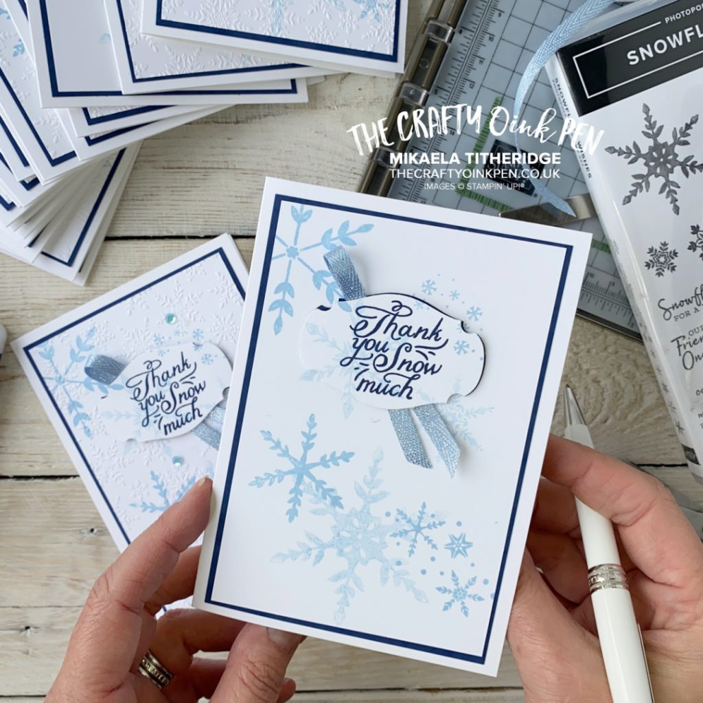 Stampin' Up! Snowflake Wishes Thank you Cards made using the Stamparatus, our image positioning tool by Mikaela Titheridge, UK Independent Stampin' Up! Demonstrator, The Crafty oINK Pen. Buy your Stampin' Up! Products through my online store 24/7. Use my Shopping Code at checkout for personal rewards from me. Can be found here on my Blog.