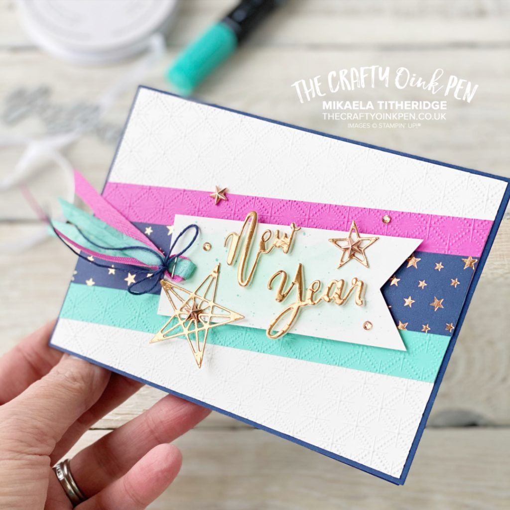 Word Wishes and Stitched Stars for a New Year Celebration Card by Mikaela Titheridge, UK Independent Stampin' Up! Demonstrator, The Crafty oINK Pen. Buy your Stampin' Up! Products through my online store 24/7. Use my Shopping Code at checkout for personal rewards from me. Can be found here on my Blog.