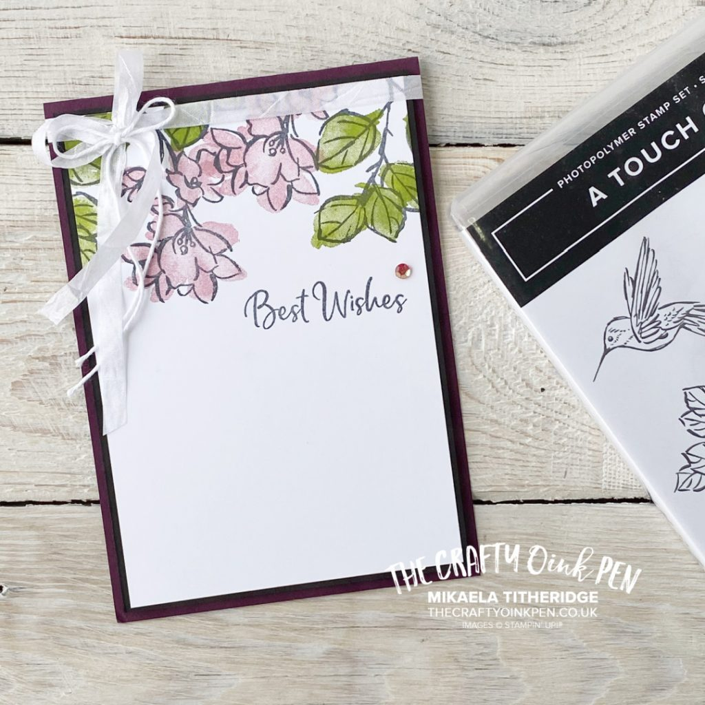 Handmade Card using a Stampin' Up! Floral Stamp Set. A touch of Ink