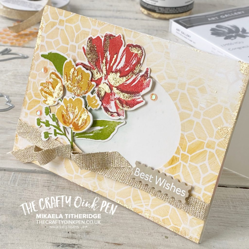 All Star Tutorial Blog Hop using Fine Art Floral Suite from Stampin' Up! by Mikaela Titheridge, UK Independent Stampin' Up! Demonstrator, The Crafty oINK Pen. Buy your Stampin' Up! Products through my online store 24/7. Use my Shopping Code at checkout for personal rewards from me. Can be found here on my Blog.