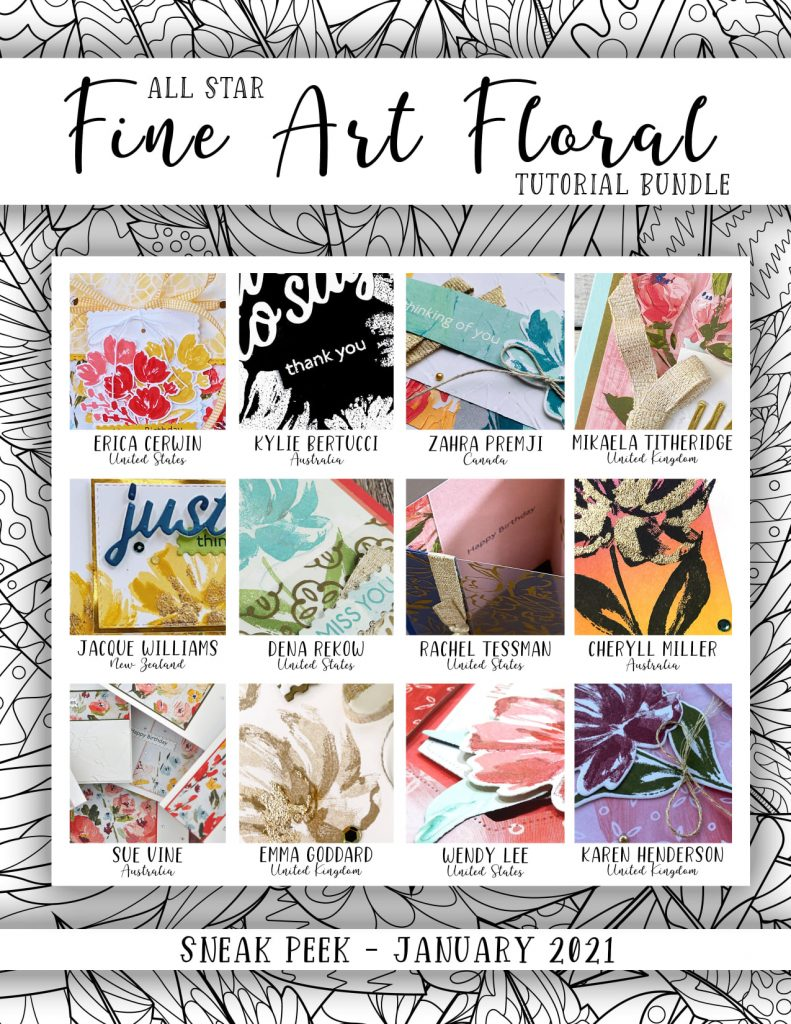 All Star Tutorial Bundle for January 2021 using Fine Art Floral available to purchase in the UK from Mikaela Titheridge, UK Independent Stampin' Up! Demonstrator, The Crafty oINK Pen. Buy your Stampin' Up! Products through my online store 24/7. Use my Shopping Code at checkout for personal rewards from me. Can be found here on my Blog.