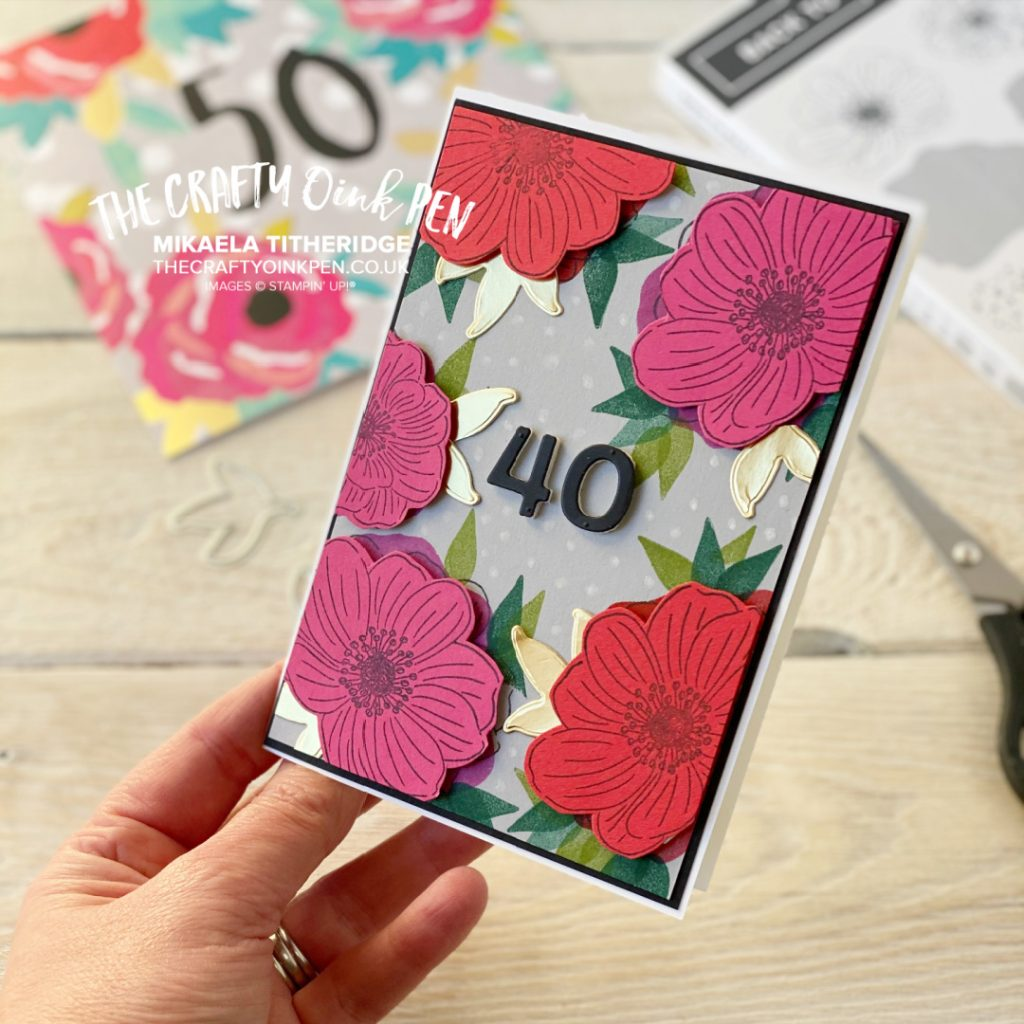 Handmade 40th Birthday Card using Back to Back Blooms from Stampin' Up! Bright Flowers
