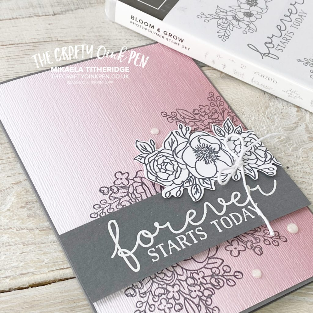 Stampin' Up! Bloom and Grow Floral stamp set with Ombre Paper for an Engagement Card