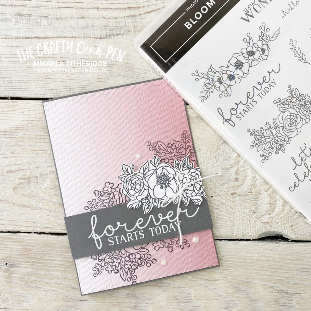 Stampin' Up! Floral Stamp Set Bloom and Grow with Ombre background for an Engagement Card of New Beginnings