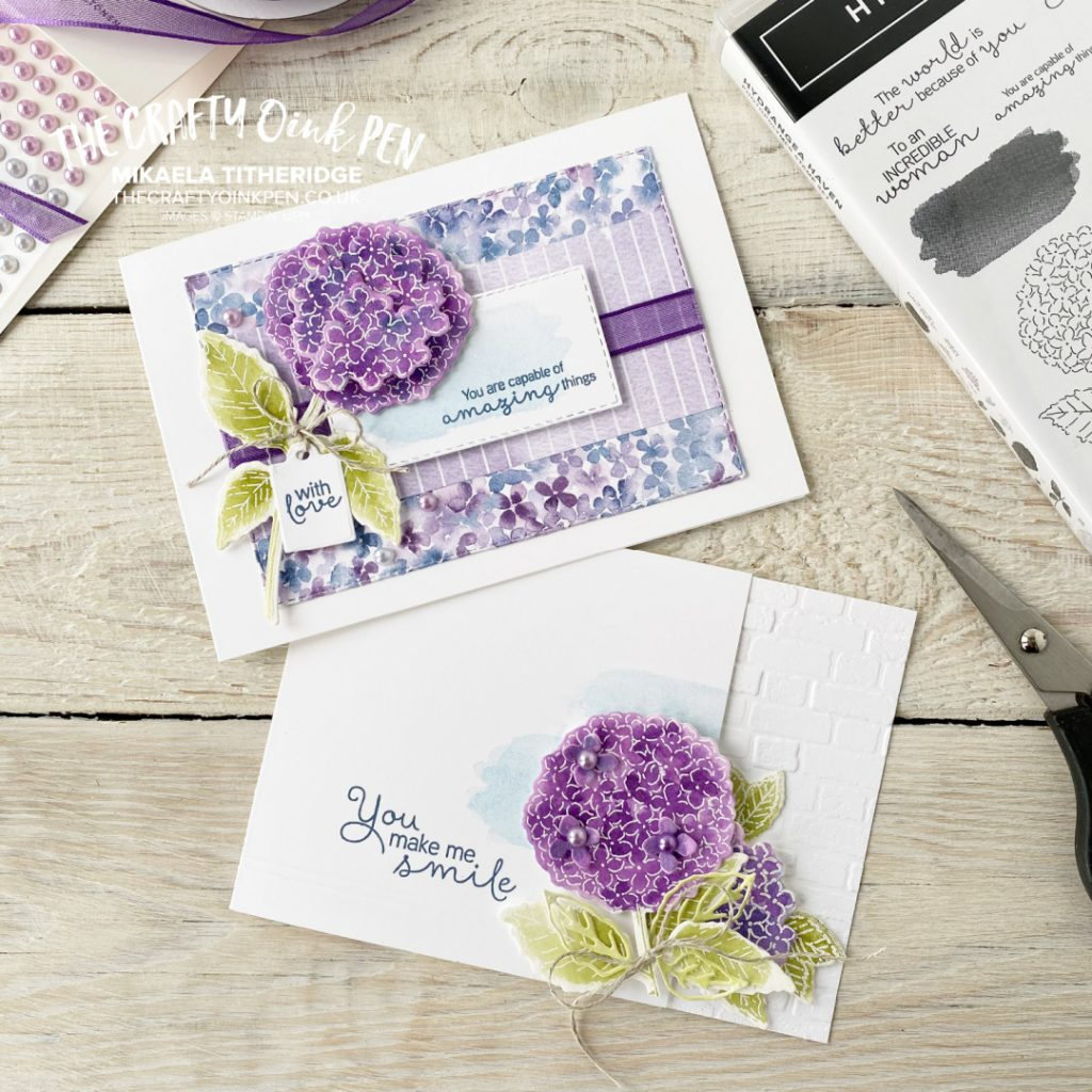 Two handmade greetings cards with watercolored die cut Hydrangeas on. Shades of Lilac, purple