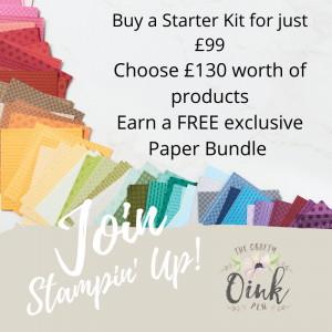Buy the Stampin' Up! Starter Kit during Sale a Bration 2021 through Mikaela Titheridge, UK Independent Stampin' Up! Demonstrator, The Crafty oINK Pen. Buy your Stampin' Up! Products through my online store 24/7. Use my Shopping Code at checkout for personal rewards from me. Can be found here on my Blog.