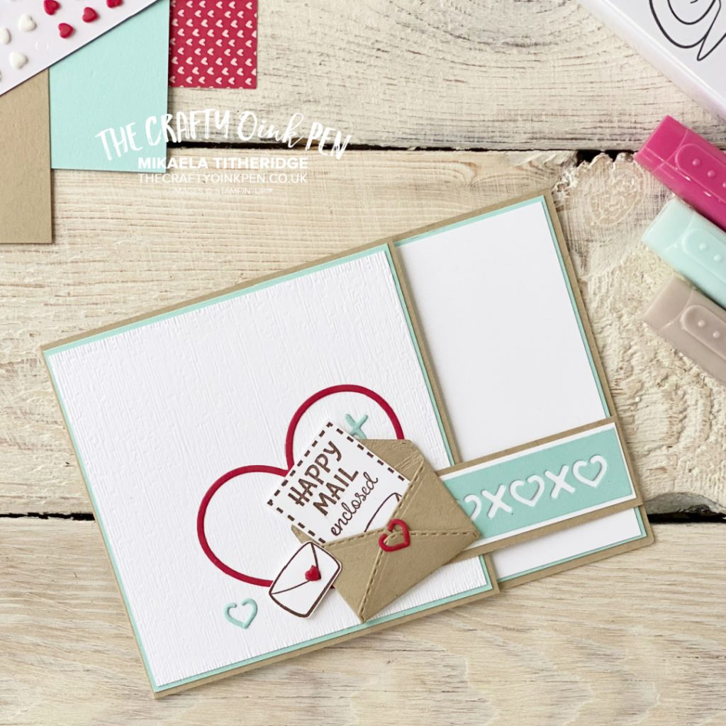 Valentines Card made using Stampin' Up! Products Snailed it Bundle and So Many Hearts Dies. Mini Envelope Die for snail mail