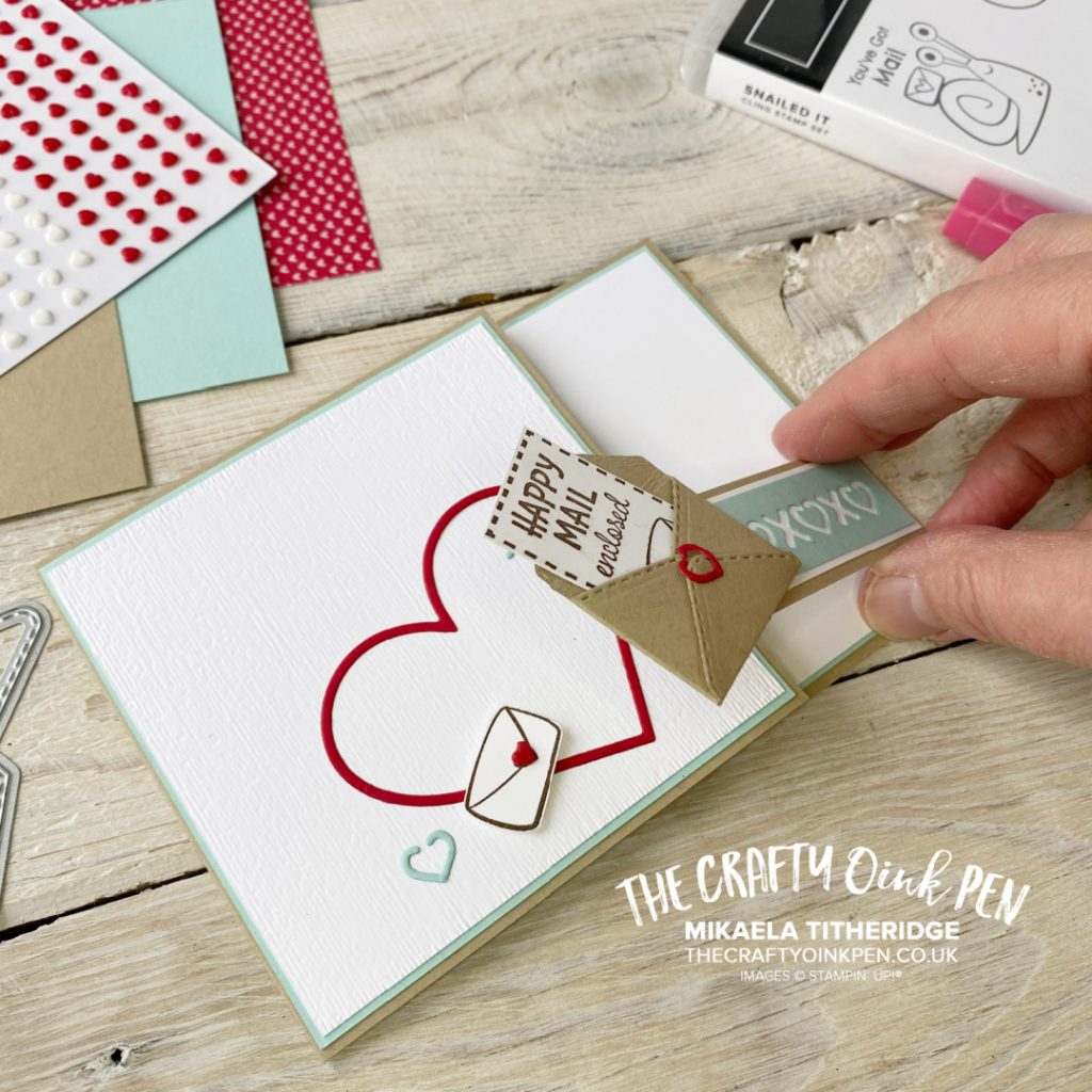 Snailed It Dies of mini Envelope teamed with hearts from So Many Hearts dies for a valentines card