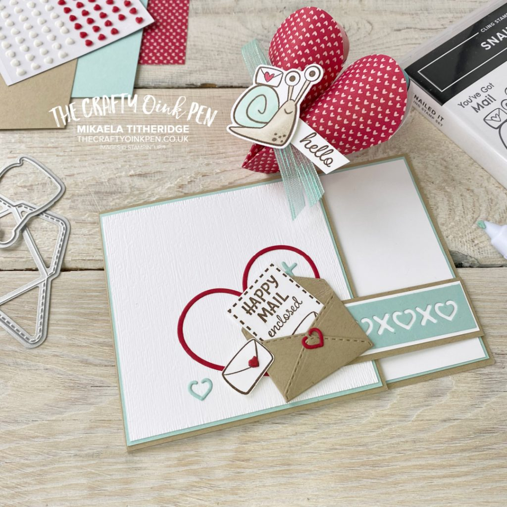 Snailed it Suite for a Valentines Card and Heart Shaped treat holder. Snails, mini envelopes and hearts