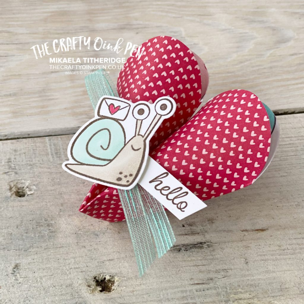 Snailed It Designer Series Paper with Snailed it Stamp Set for a cute heart shaped treat holder