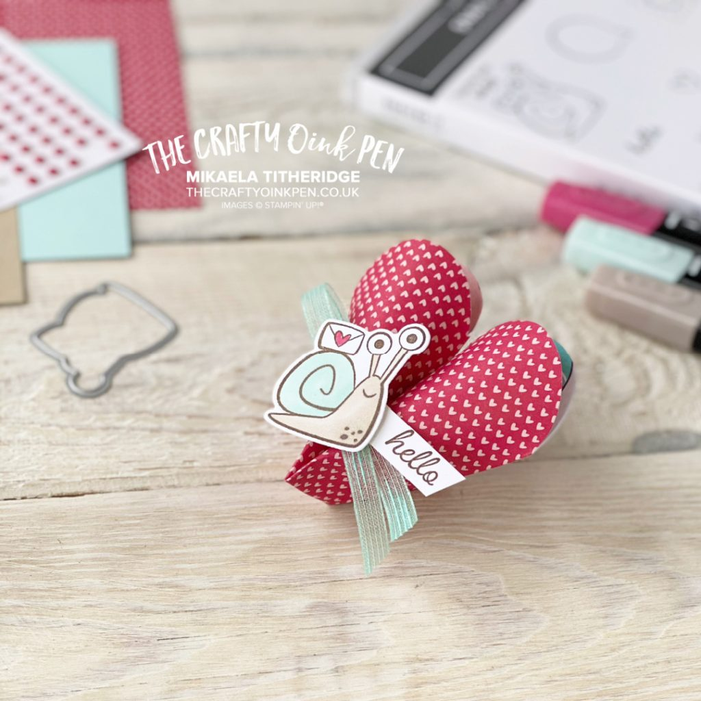 Heart shaped treat holder using Snailed It Bundle by Stampin' Up!