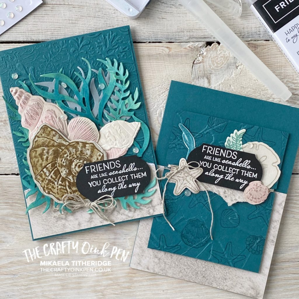 Handmade Greetings Cards made using Stampin' Up! Products, Sand and Sea and Friends are like Seashells. Seabed images of shells