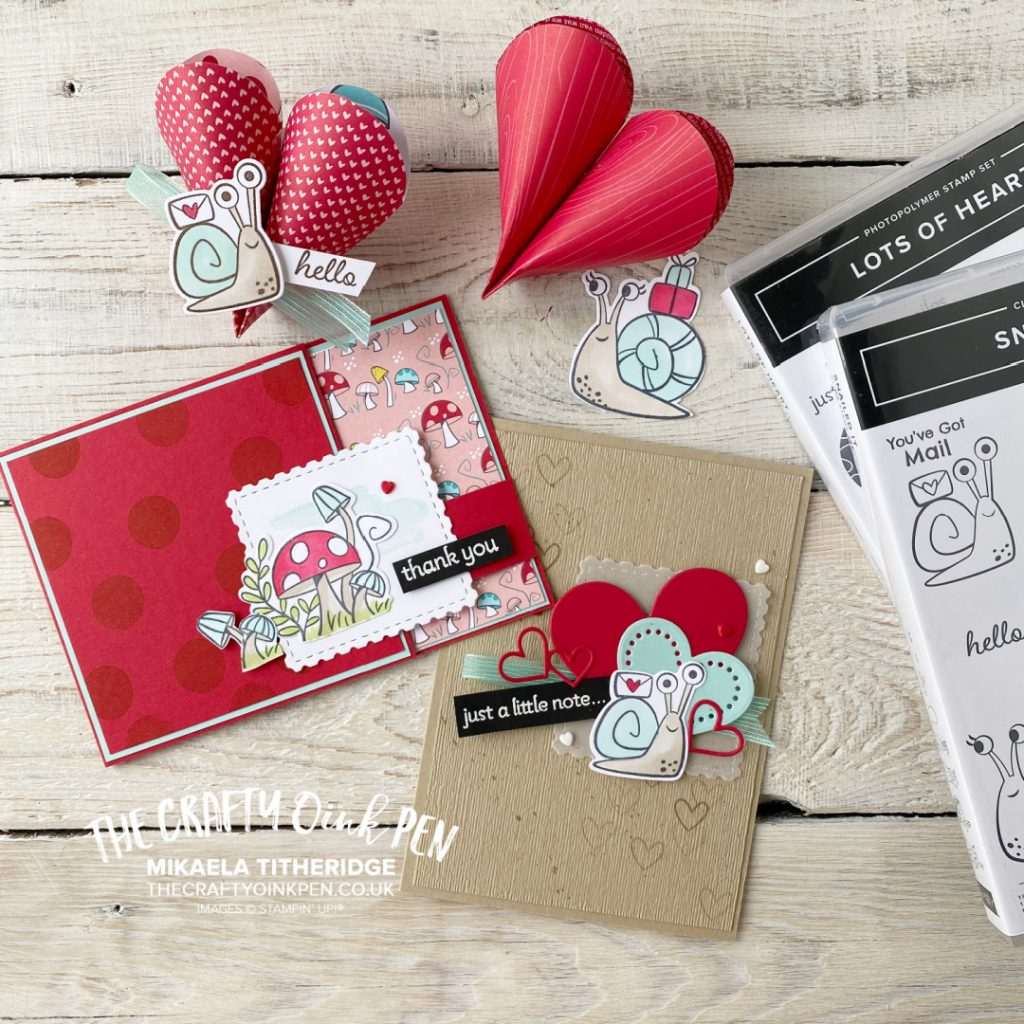 Snailed it with Lots of Hearts to create two greetings cards and these little table gifts