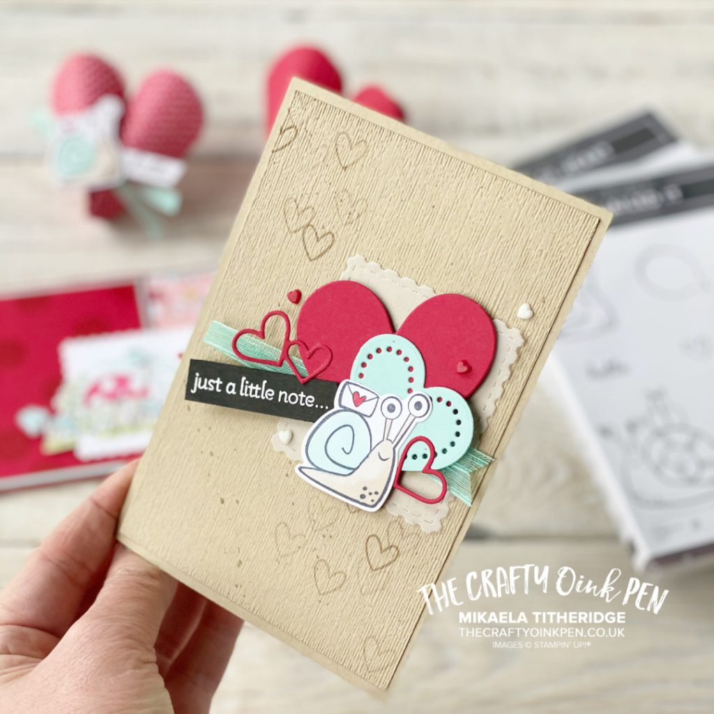 Love Hearts and Snails from the Lots of Hearts and Snailed it sets by Stampin' Up! create this greetings card