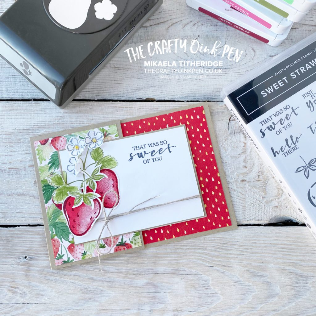 Handmade Thank you Card with Sweet Blessings of a Strawberry or two with the Builder Punch