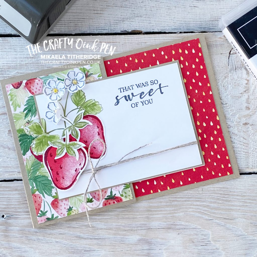 Sweet Blessings help create this handmade greetings card using strawberries and the Strawberry Builder Punch