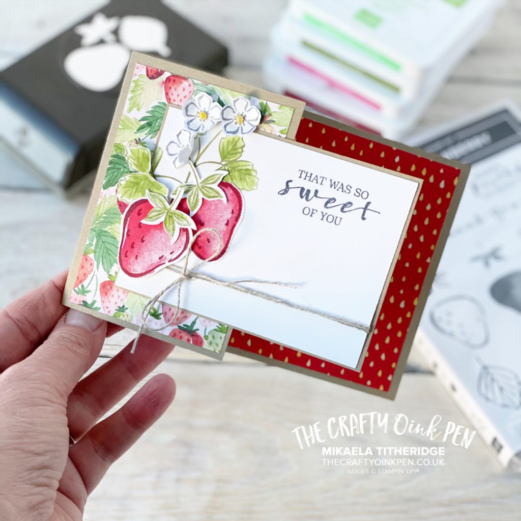 Sweet Blessings help create this handmade Thank you card using Sweet Strawberry Builder Punch