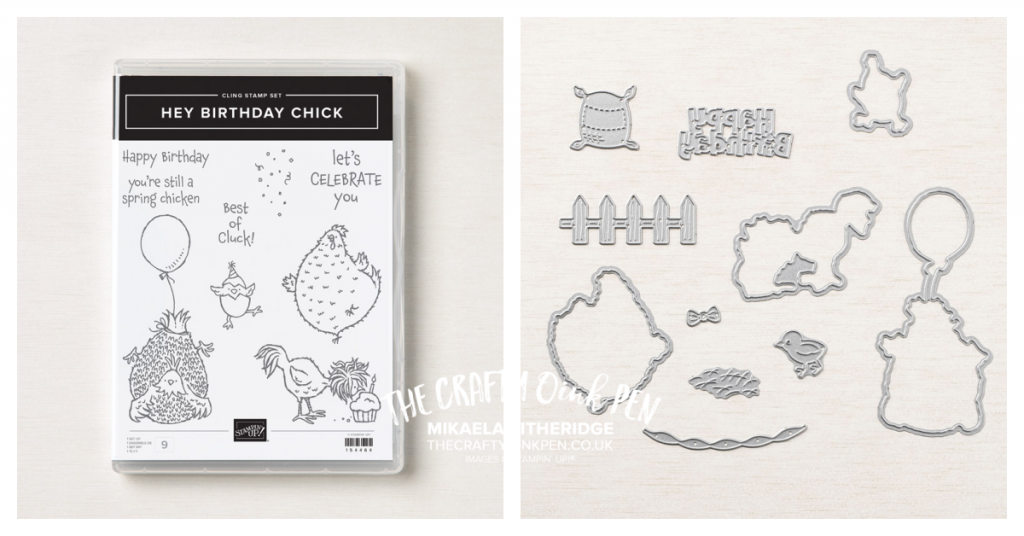 Hey Birthday Chick Stamp set and dies from Stampin' Up! chickens and party accessories