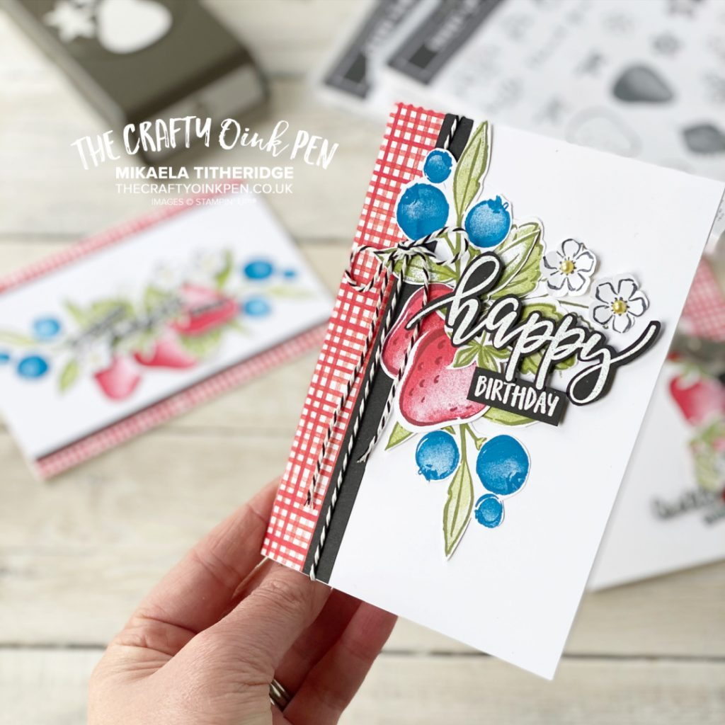 Handmade card using Sweet Strawberry Stamp Set and Free Sweet Berry Blessings