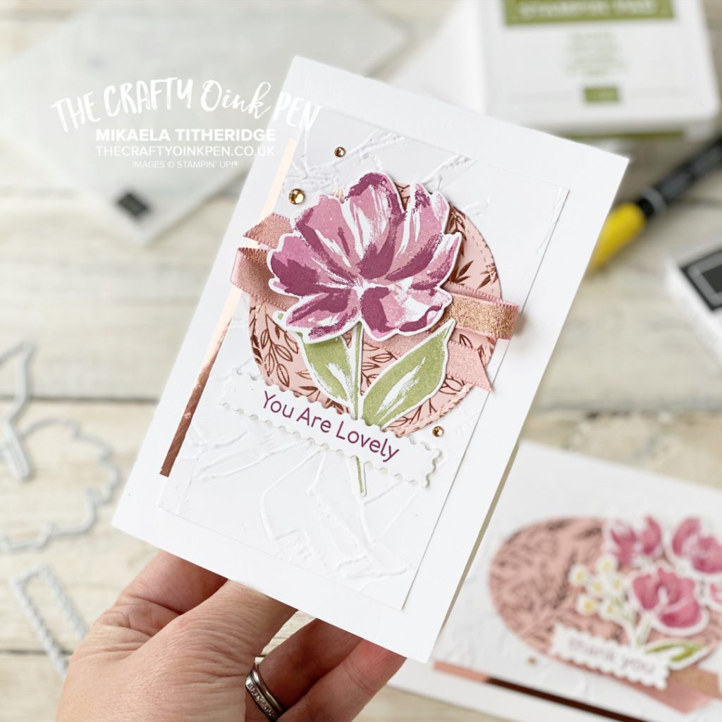 Handmade Greetings card using beautiful pink flower from Love you always suite by stampin up!