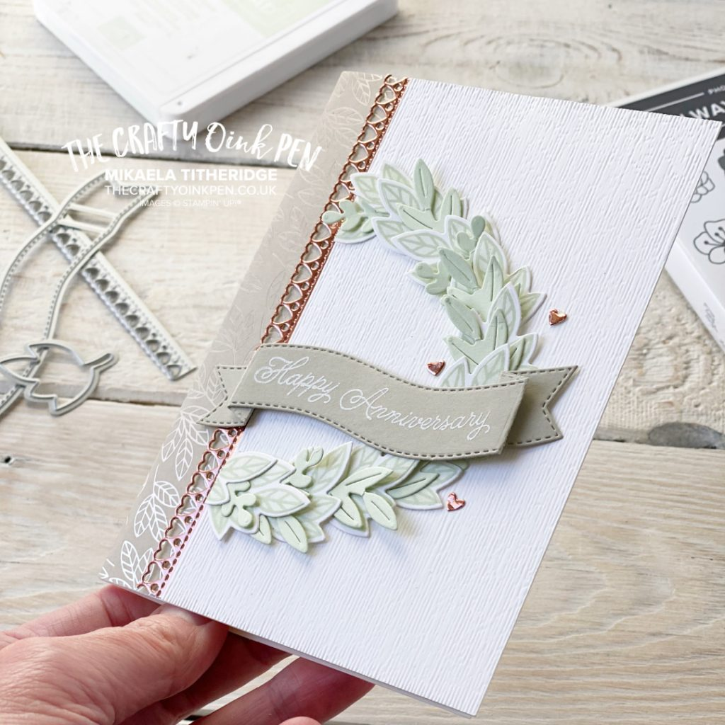 Handmade Greetings card for an Anniversary card with a wreath
