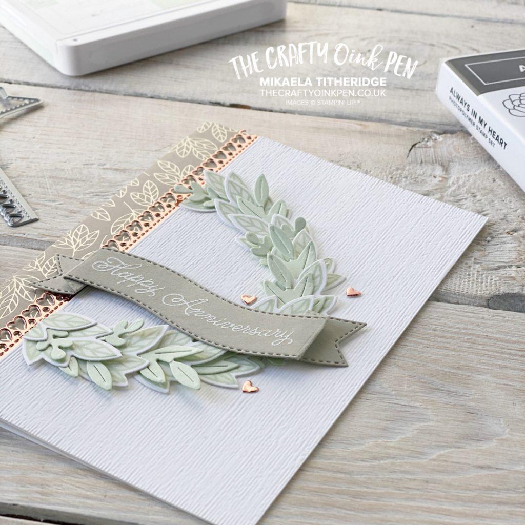 Handmade Anniversary Card using Love you always to make a wreath