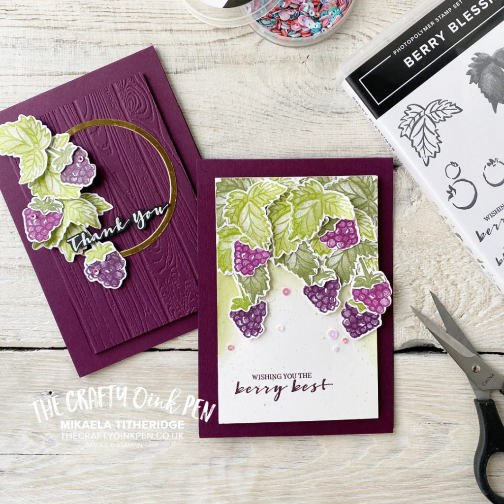 Handmade cards using Berry Blessings for cards of thanks. Blackberries and Razzleberries