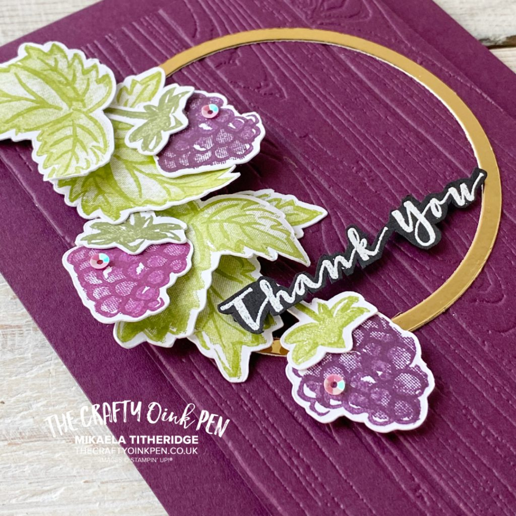 Handmade thank you card using berry blessings