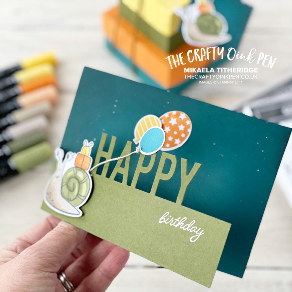 Handmade greetings card with cute critters on. Snail with Balloons and a half height tri fold card