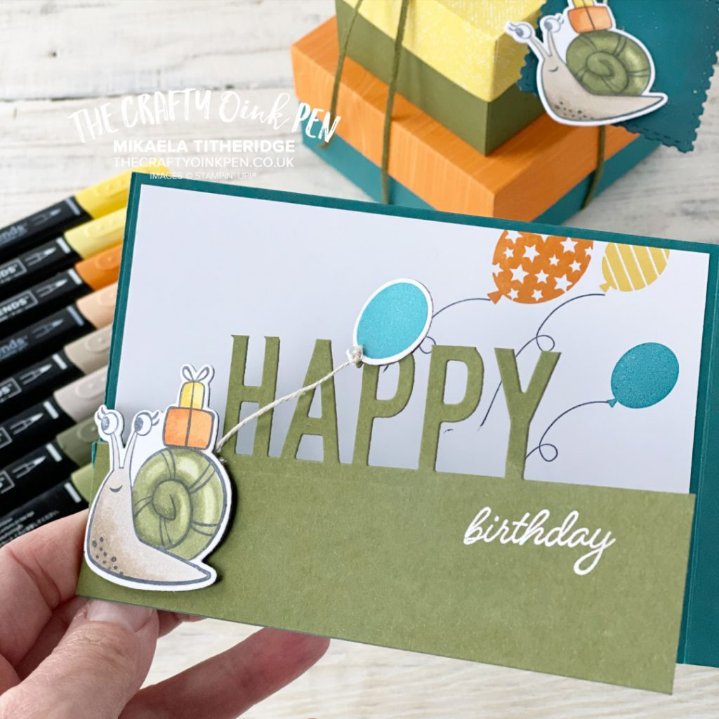 Cute Critters used to create this tri fold greetings card with Snailed it and oh so happy balloons