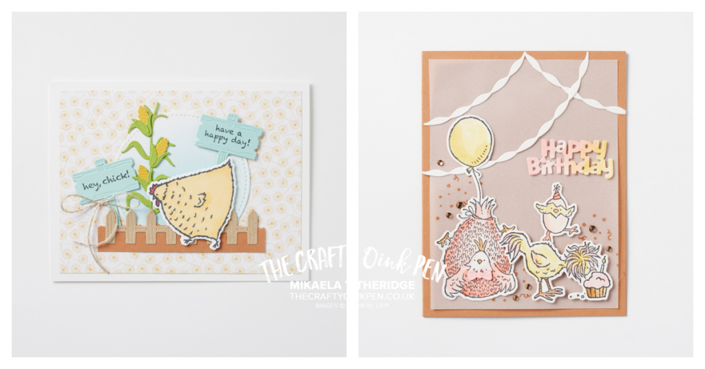 Hey Chick and Hey Birthday Chick Bundles create these fun handmade Birthday Cards showing chickens at a party