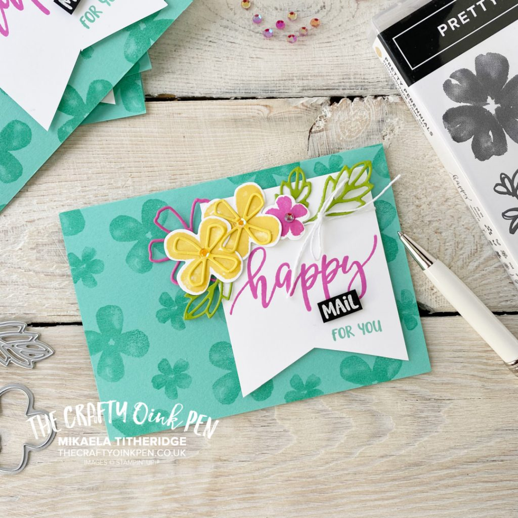 Handmade Greetings card with sunny Pretty Perennials flowers. You've Got mail