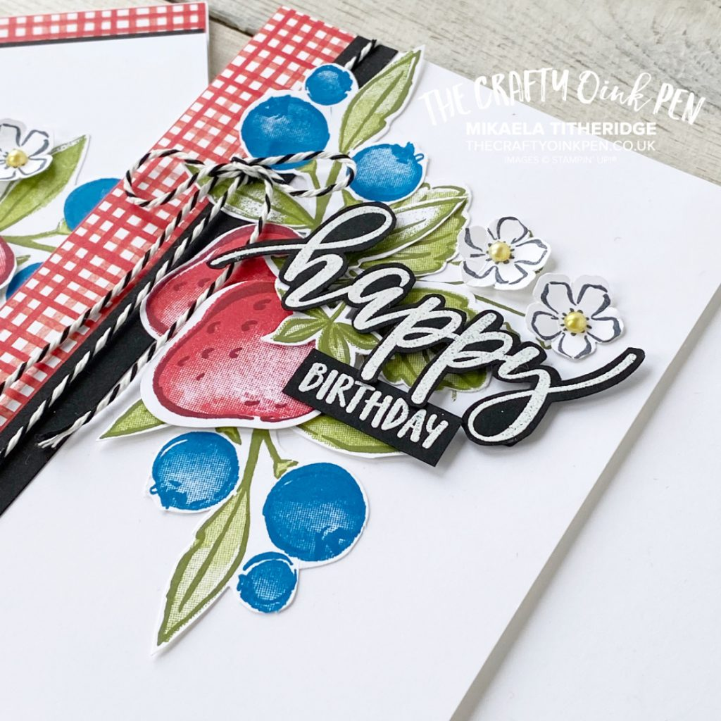 Handmade Greetings card using Sweet Strawberry Berry Blessings and a Happy Pretty Perennial Greeting